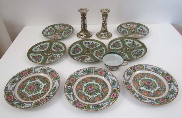 11 pc. Famille Rose dinner ware including 1 tea cup