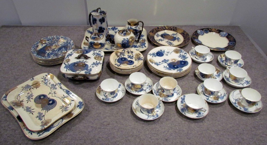 "49 pc. Persian Spray"" flow blue partial dinner set by D"