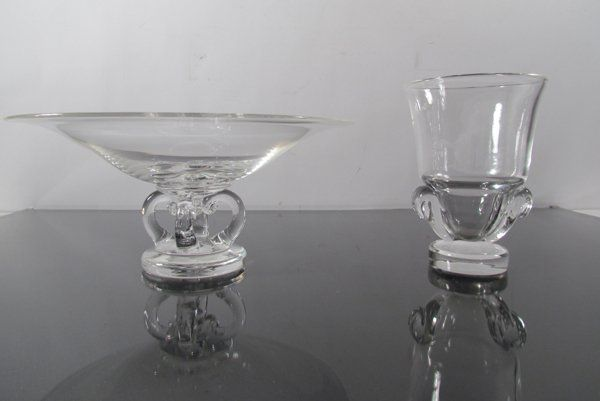 2 pc Steuben Vintage Crystal Compote and Vase