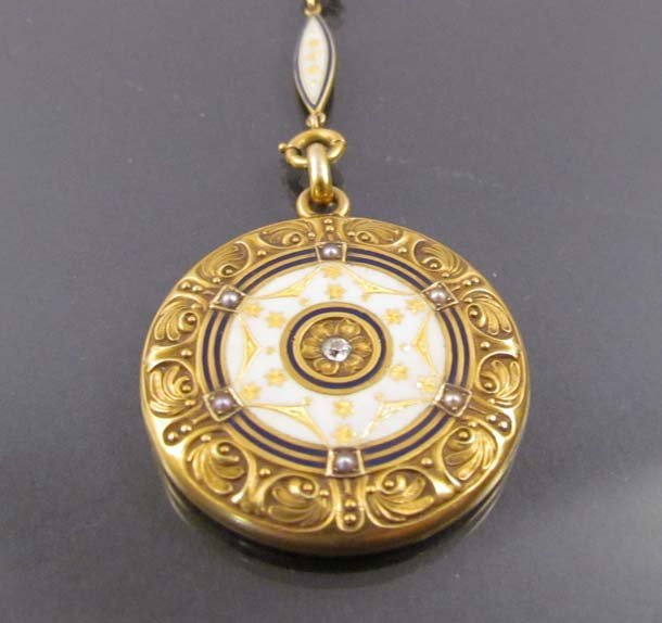 Gold and Cloisonné Monogrammed Locket w small stones - 2