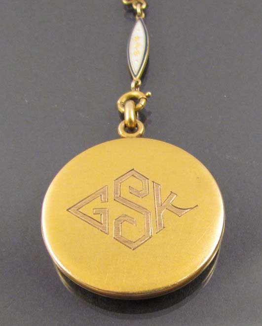 Gold and Cloisonné Monogrammed Locket w small stones - 6