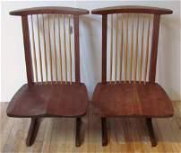 Pair George Nakashima Conoid Lounge Chairs