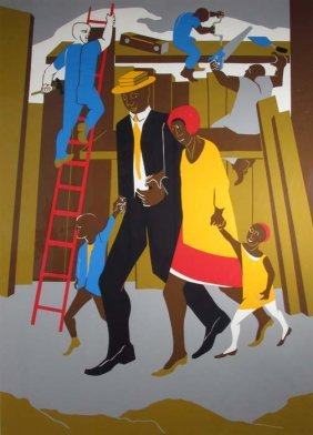 """Jacob Lawrence Orig Serigraph """"the Builders"""" (Family),"""