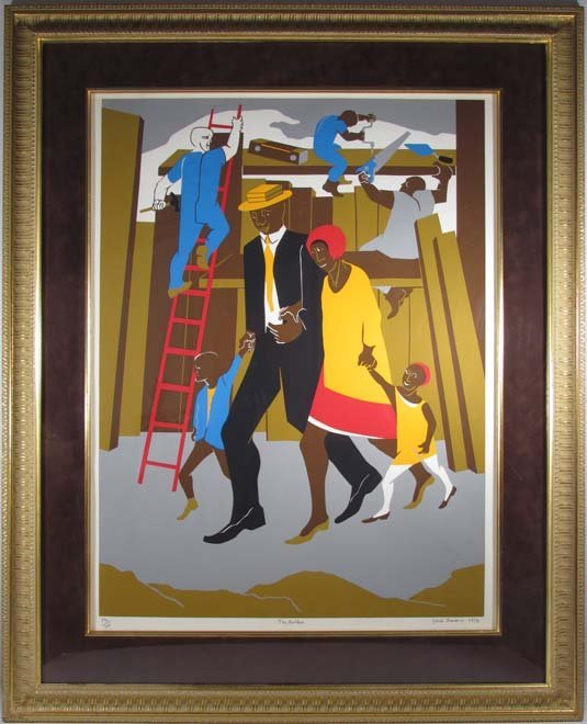 """Jacob Lawrence Orig Serigraph """"the Builders"""" (Family), - 2"""