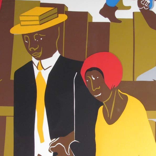 """Jacob Lawrence Orig Serigraph """"the Builders"""" (Family), - 5"""