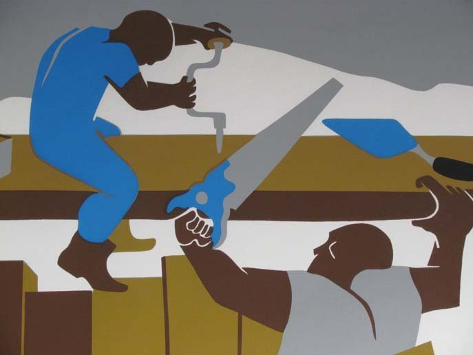"""Jacob Lawrence Orig Serigraph """"the Builders"""" (Family), - 6"""