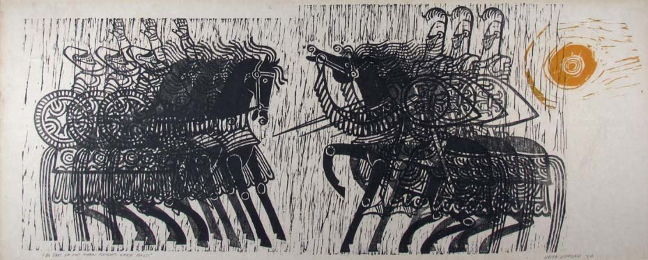"Helen Worsing color woodcut 1964 ""In Days Of Old When K"