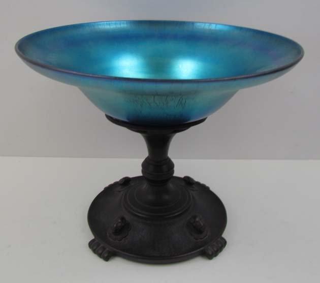 Oscar Bach Arts & Crafts bronze art glass Compote
