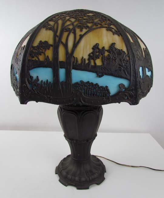 E. Miller Slag Glass Lamp with Scenic Overlay Design