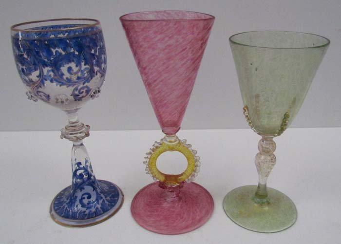 3 assorted Venetian Murano Glasses