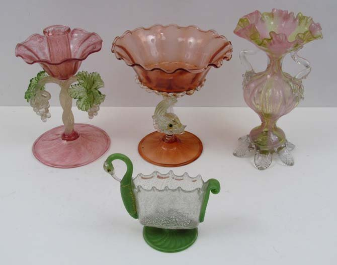 4 Murano Glass Objects, Compote, Candlestick, Vase, car
