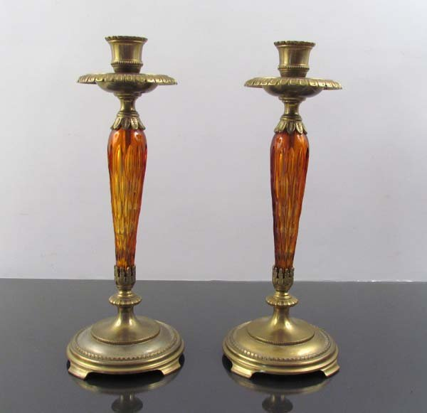 Candlesticks, pair, Bronze mounts and colored cut glass