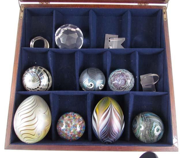 Lot of 8 20th C. Studio Paperweights & Art glass Eggs