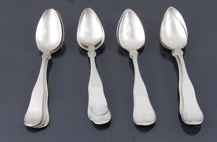 12 American Coin Silver Spoons by various makers