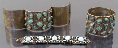 2 Chinese hinged cuff bracelets with one link bracelet