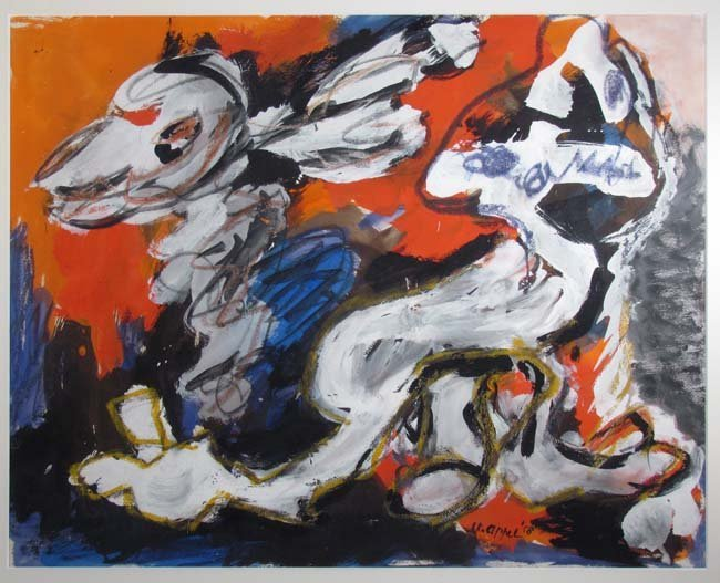 """Karel Appel 1958 painting on paper """"Abstracted Figures"""""""