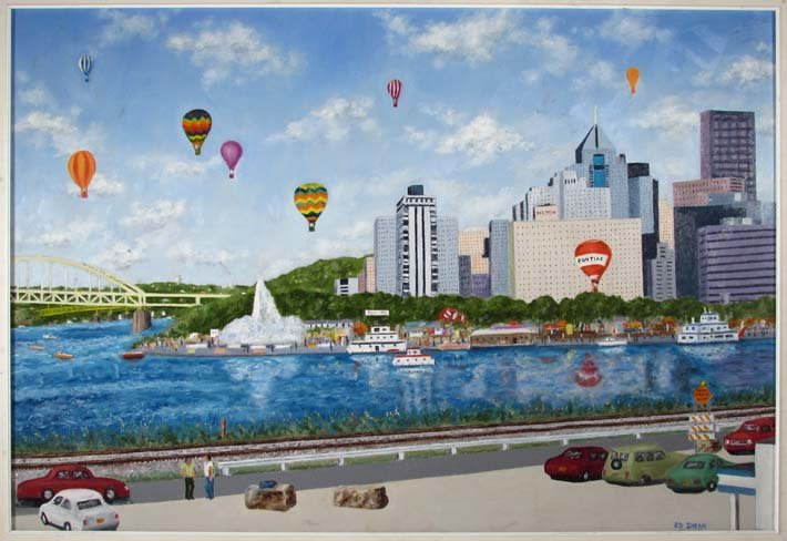 "Ed Shean ptg. ""Hot Air Balloons at The Point"""
