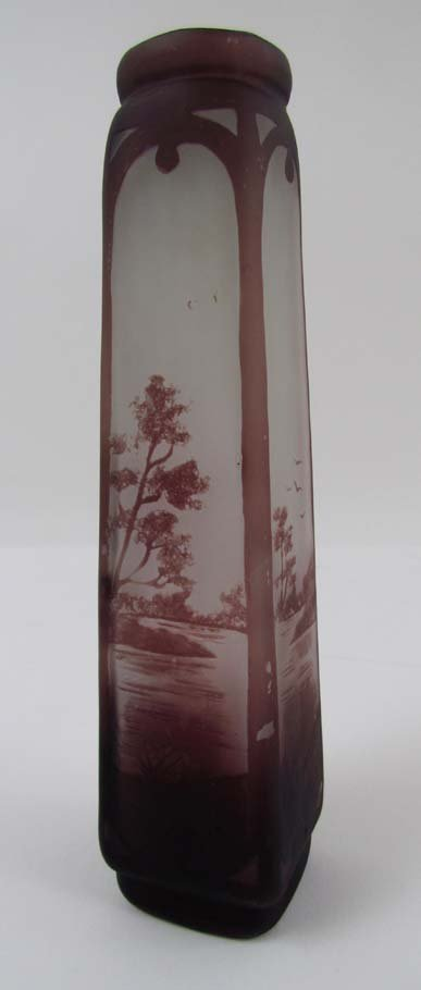 French Glass Cameo Vase decorated with landscape Scenes