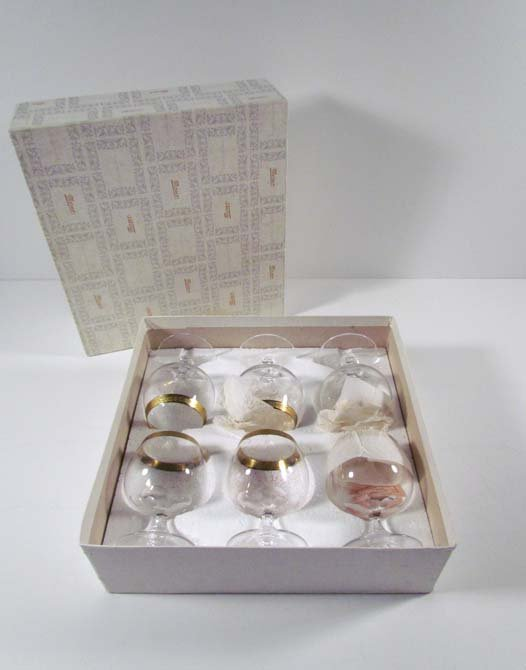 6 Moser gilded glass brandy snifters in the Royal Patte