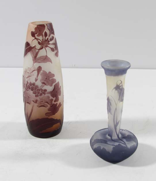 Two Galle French cameo glass cabinet vases