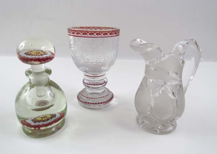 Milliefiore Paperweight Perfume, Bohemian Goblet, and E