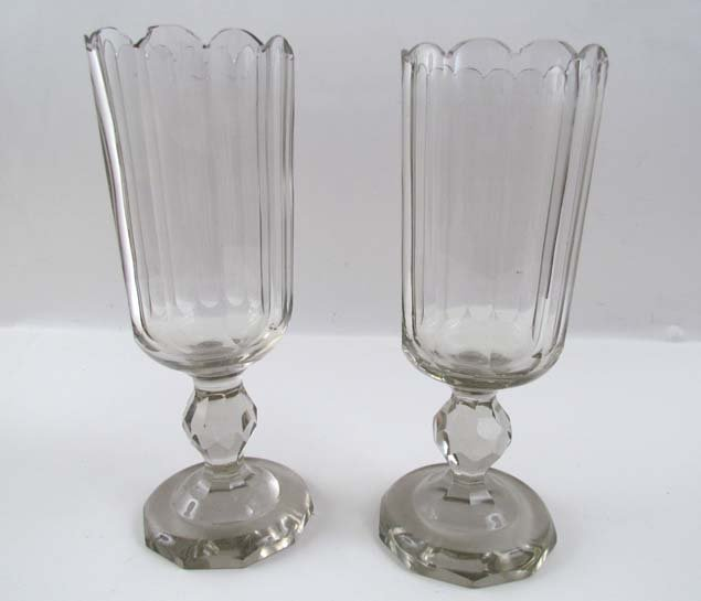 Pr. American Victorian cut and polished Celery Vases