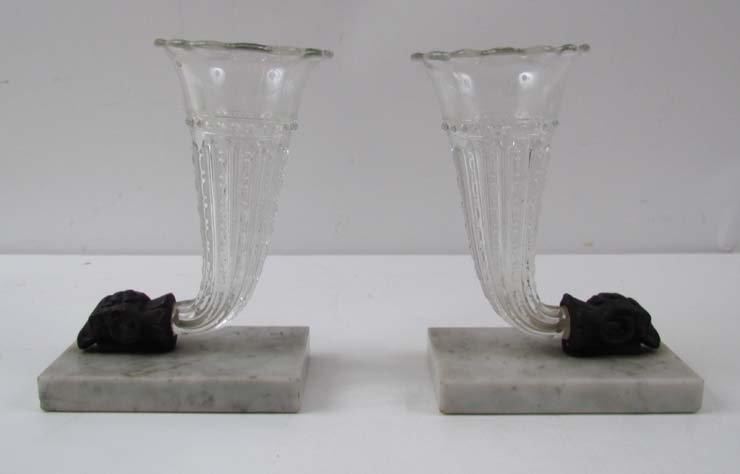 A Pair of Glass Cornucopia or Horn of Plenty Vases