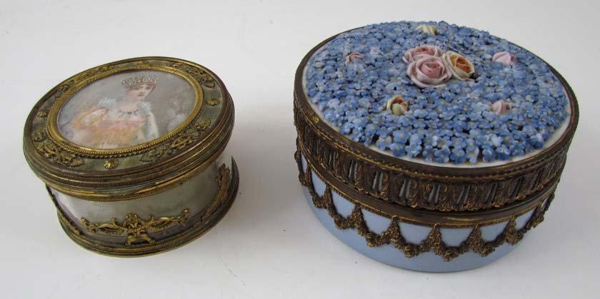 2 Antique Lidded Ladies Vanity jars