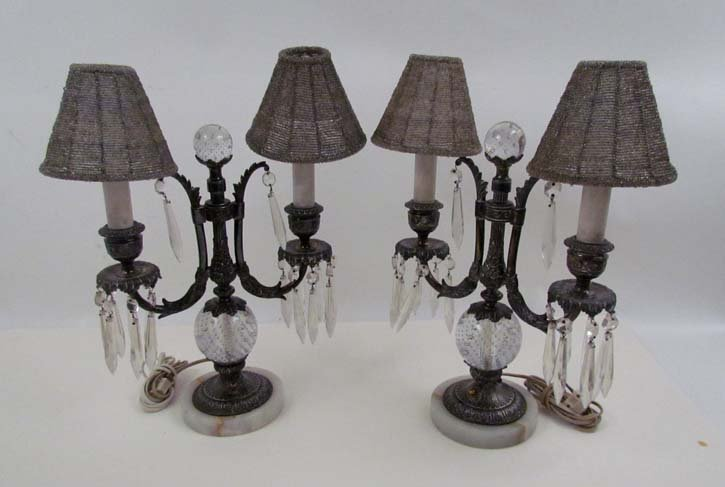 Pairpoint glass mounted candelabra style lamps