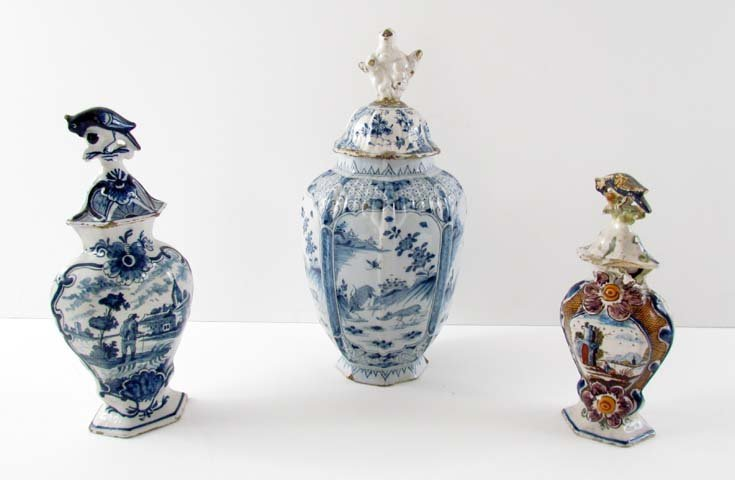 3 Delft Style Covered Vases