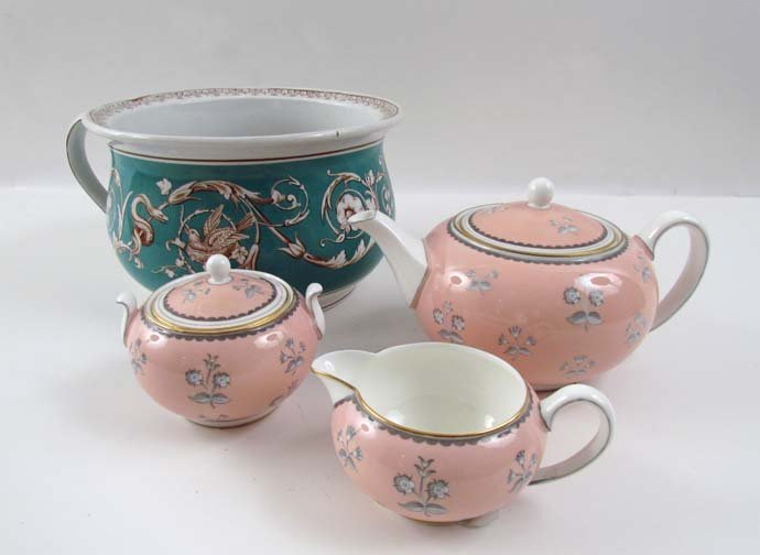Pink Wedgewood tea set & turquoise bowl with Chamber Po