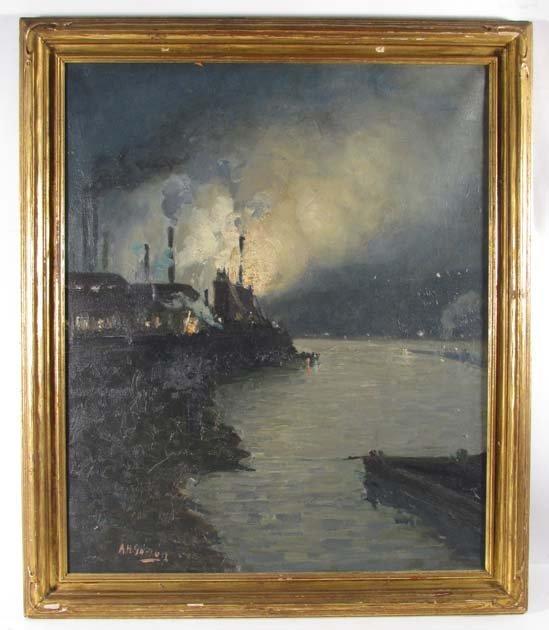 "Aaron H. Gorson ""Steelmaking Nocturne"" oil painting"