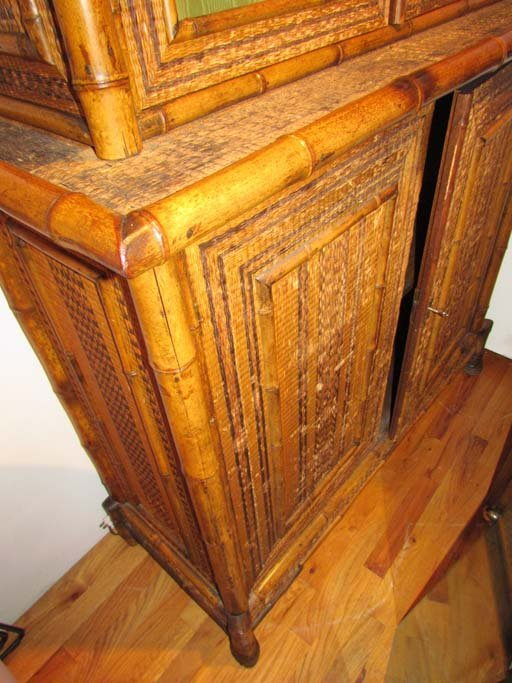 Indonesian Style Bamboo and Rattan Bookcase - 4