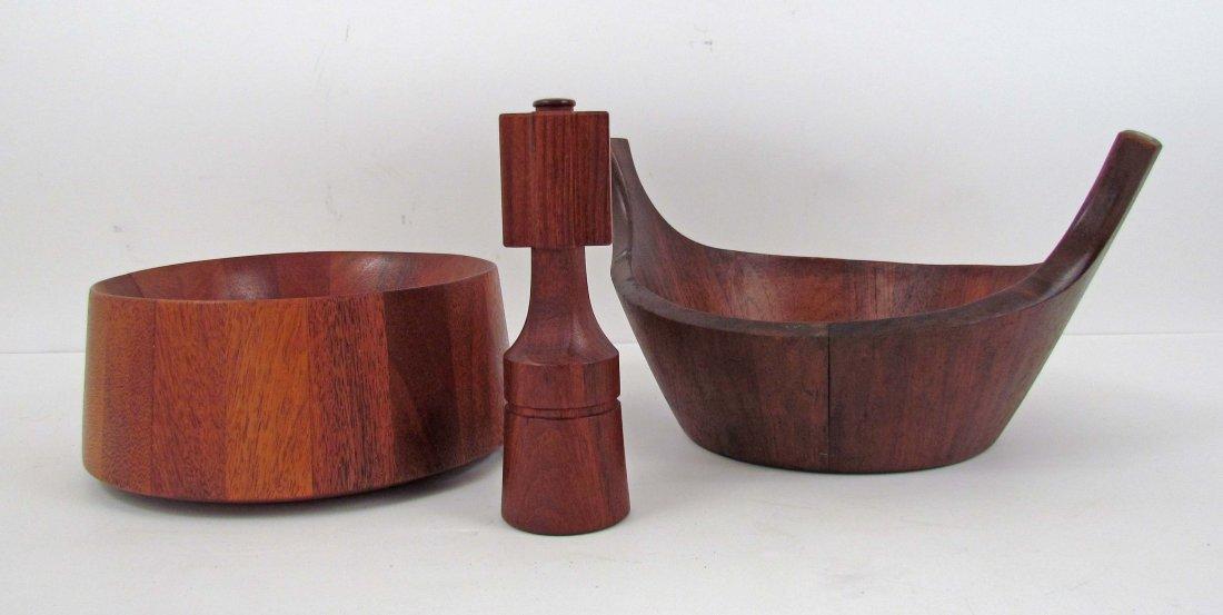 Jens Quistgaard Teak Wood Bowl, Dansk Bowl, S&P Grinder