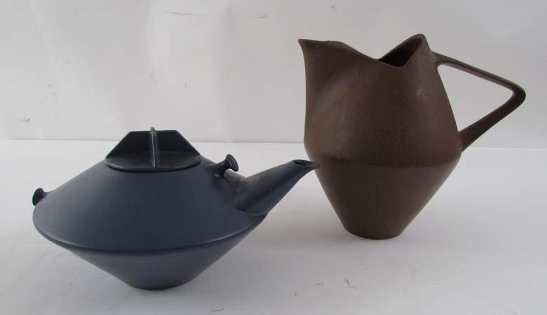 Erwin Kalla for Hyalyn Porcelain modern pitcher and tea