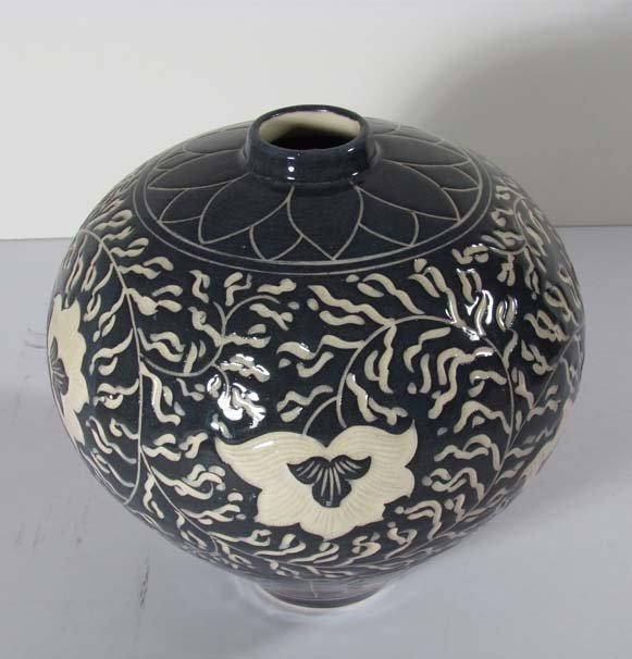 Jinsong Kim grey glazed Porcelain Vase With Lotus