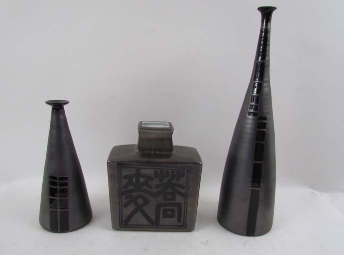 3 contemporary ceramic vases