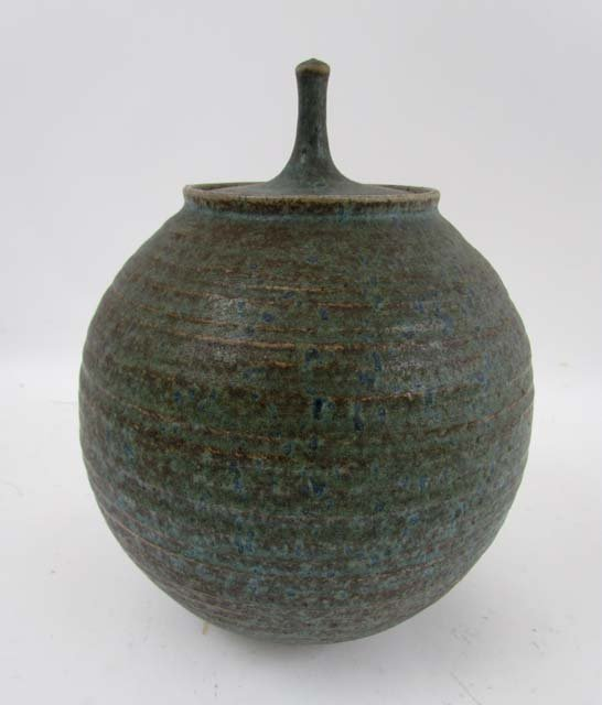 Tom McMillin Lidded Vase with ribbed sides