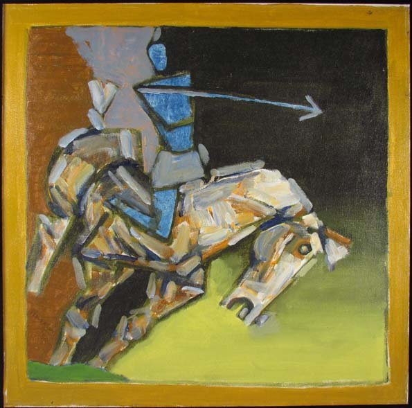 "M. F. Husain 1980 ptg. ""Horse w Rider and Lance"""