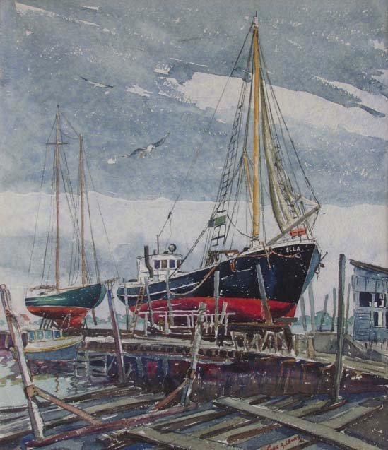 "Cyril A Lewis 1944 watercolor ""Dry Dock"""