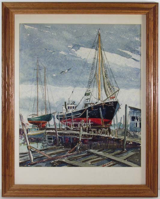 "Cyril A Lewis 1944 watercolor ""Dry Dock"" - 2"