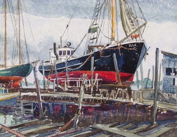 "Cyril A Lewis 1944 watercolor ""Dry Dock"" - 4"