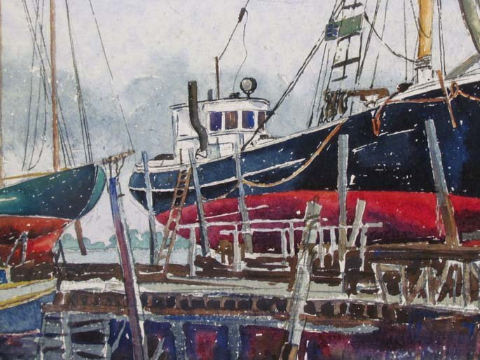 "Cyril A Lewis 1944 watercolor ""Dry Dock"" - 5"