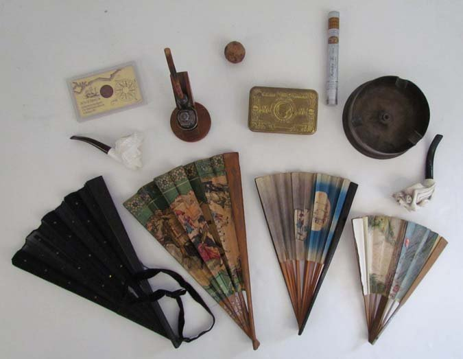 Collection of Fans, Pipes, Cigar Holder