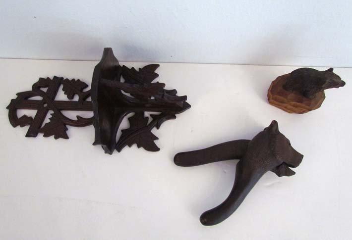 Klscheidegg carved bear nutcracker, carved bear on
