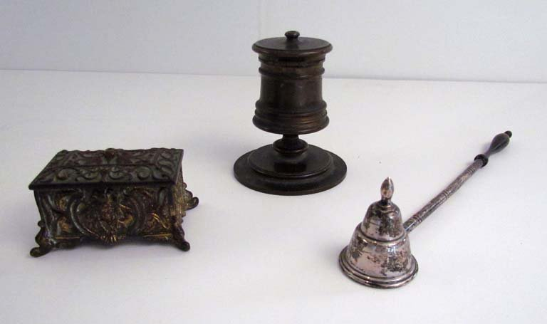 sterling and wood candle snuffer, Victorian match box