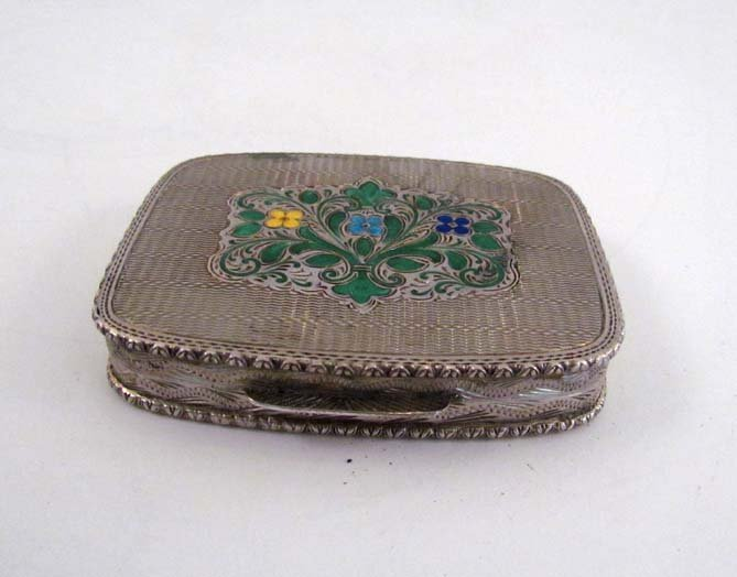 silver and enamel compact with mirror, possibly German