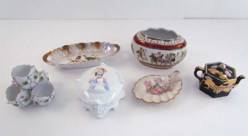 collection of ceramics inc. Victorian Figural Box