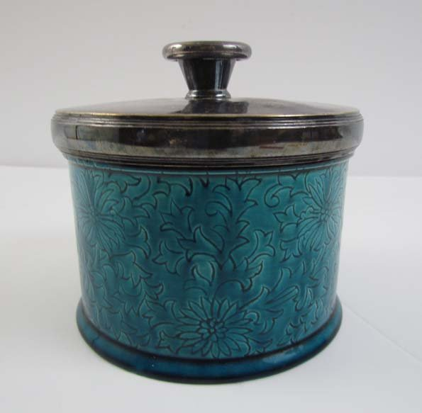 Continental incised blue glazed pottery tobacco jar