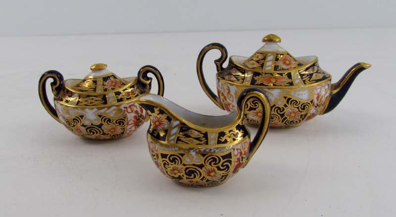Royal Crown derby 3 pc miniature porcelain Imari